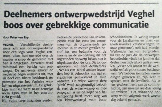 Deelnemers ontwerpwedstrijd Veghel boos over gebrekkige communicatie